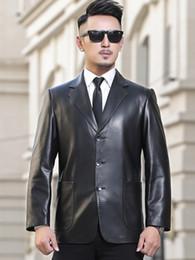 2019 stili mens blazers moda nera Giacca in pelle Giacca in pelle di pecora Giacca in pelle da uomo 3 bottoni al seno Abito in stile nuovo per la moda Giacche uomo moda vestibilità slim nera stili mens blazers moda nera economici