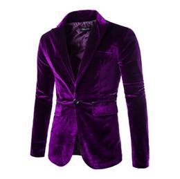 Ternos de veludo cotelê para homens on-line-Primavera Outono Novos Homens Quentes Jaqueta Elegante Simples Homens de Cor Sólida Corduroy Terno Ocasional