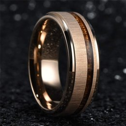 comfort fit rings Coupons - Stainless Steel Rose Gold Colour Wedding Rings Koa Wood Engagement Rings Comfort Fit And Men's Fashion Tungsten Party Jewelr