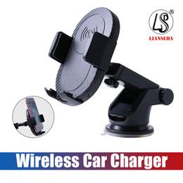 Iphone 5w chargeur en Ligne-Qi Fast Chargeur de voiture sans fil 5W avec support à voiture induction automatique support de téléphone portable pour iPhone 8 Plus X Samsung S9-S8