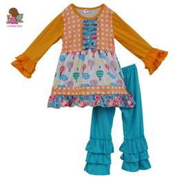 2020 camicie a pantaloni increspati Toddler Girls Outfit Abiti in cotone per bambini T-shirt per bambini Top Pantaloni per bambini in volant 2PCS Boutique Suit set di abbigliamento per bambini F101 sconti camicie a pantaloni increspati