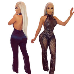 d217a8a2127 Sexy Halter Bodycon Jumpsuit Golden Sequins Backless See-through Mesh  Clubwear Women Party Outfits Jumpsuits YD021 Free Shipping