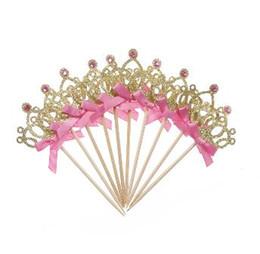 topo de bolo de coroa Desconto Decoração de aniversário Crianças Baby Boy Girl Party Decoração Gold / Silver Cupcake Toppers Princesa Crown Cake Toppers
