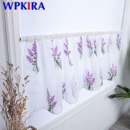 Varas de cortina de bolso on-line-1 PCS Rod bolso pequeno Janela cortina para sala de estar bordado Lavender Branco Voile Cortina Curto Kitchen Cafe