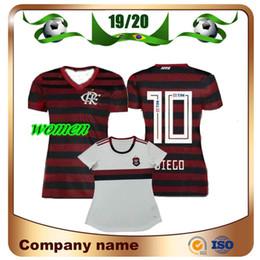 Pantalones cortos de camiseta de fútbol de las niñas online-19/20 Camiseta de fútbol Flamengo para mujer 2019 Casa # 10 DIEGO Camiseta de dama de fútbol E.RIBEIRO GUERRERO Niña blanca, uniforme de fútbol de manga corta
