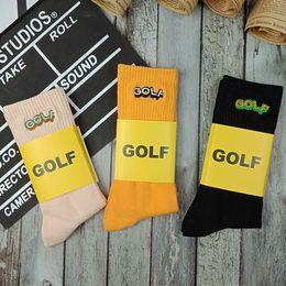 Argentina Golf Wang bordado calcetines hombres mujeres vendieron algodón medias de skate Unisex calcetines deportivos negro naranja rosa MTI0413 Suministro