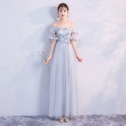 Vestidos long maxi cinza on-line-Cor cinza sling maxi dama de honra vestidos longo casamento vestido de festa