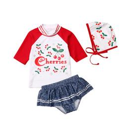 Chic Crianças Meninas Bikini Set Princesa Criança Bebê Menina Cereja Impresso Tops Saias Natação Cap Swimwear Kid Maiô 1-6A de