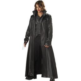 Cuero vampiro online-Adultos traje de Halloween del vampiro para hombre del conde Drácula vestido de lujo del traje del Cabo The Matrix Killers DS del club del cuero del vestido de lujo