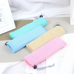 Maglia di maglia piccola online-Mesh Bundle Pocket Bacchette Spoon Small Bag Kitchen Storage Handbag Pull Rope Design Rosso Blu The New 1 5xy C1