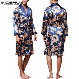 китайская одежда дракона Скидка INCERUN мода атласная шелковая пижама мужская халат с длинными рукавами халат повезло китайский дракон печати платье халат пижамы гостиная