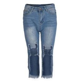 2019 leggings straßenstil Frauen Elastische Zerstörte Jeans Korean Street Style Denim Leggings Bermuda Hosen Für Frau Zerrissene Loch Vintage Jeans günstig leggings straßenstil