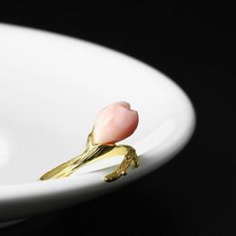 hahn ring rosa Rabatt 2019 Vintage 925 Sterling Silber Cockring Pink Shell Weibliche Ringe Set Gold Fingerringe für Frauen Mädchen Hochzeit Edlen Schmuck