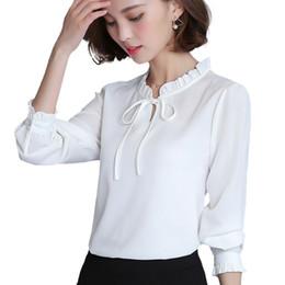 2018 New Spring Autumn Shirts Women Blusa Chiffon Blouse Long Sleeve Ruffle  Collar Fashion Tops Women s Clothing Plus Size XXXL 49b6be06049e