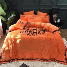 2019 conjunto de cama de borboleta Luxo Carta High End Sets Folha de cama Primavera e Outono 4 Piece Suit Carta Imprimir Algodão Real Cama Suit