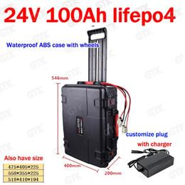 Barco de carga online-Batería de litio GTK impermeable 24V 100AH Lifepo4 BMS 8S con estuche para ruedas para vehículo del Sistema Solar barco + 20A de carga