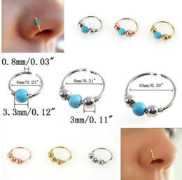anillo de la nariz de oro 18k Rebajas Venta caliente de Las Mujeres de Moda de Acero Inoxidable Anillo de La Nariz Turquesa Nostril Hoop Nariz Pendiente Joyería Piercing