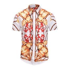 Argentina Nueva marca de lujo de los hombres camisa de los hombres de moda camisas de vestir slim fit Casual manga corta camisas de algodón impresión 3D camisa D6052 supplier new fashion 3d short dresses Suministro
