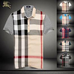 футболки с длинными рукавами Скидка 2019 новая мужская мода высокого класса с короткими рукавами отворотом футболка рубашка поло 6067