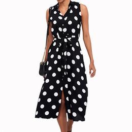 e2d1b0a69fc6 Sleeveless dress spring and summer best-selling dress sleeveless polka-dot  high waist lace-up women s chiffon dressfree shipping