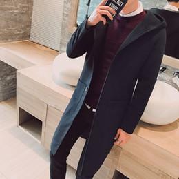 mens di cappotto incappucciato a lana singola Sconti X-Long Giacche Cappotti monopetto Casual Mens misto lana Giacche Inverno: Uomo con cappuccio di lana cappotto 3XL 4XL 5XL