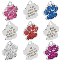 glitzerhunde Rabatt Personalisierte Erkennungsmarken Gravierte Katze Welpen Haustier ID-Karte Name Collar Tag Anhänger Haustierzubehör Knochen / Pfote Glitter