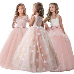 2019 vestido de invierno de la moda de los niños coreanos Vestido de las muchachas de flor de la vendimia para los vestidos de boda de la tarde del partido de la princesa del desfile de los niños vestido largo para niños para las muchachas Ropa Formal