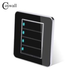 mini rivelatori di topi Sconti Interruttore a parete Coswall Marca 4 Gang 2 Way Pulsante a portata di clic casuale con indicatore LED Specchio pannello in cristallo acrilico