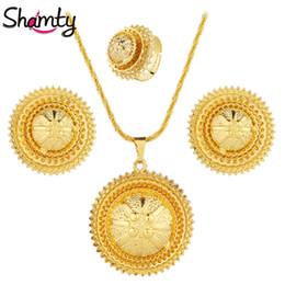 oro etioco Sconti Shamty Nuovo colore dell'oro dei monili di modo rotondo dei monili del partito imposta etiope African Wedding A40005