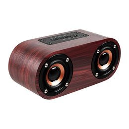 bluetooth di q8 Sconti Altoparlante portatile da subwoofer wireless Bluetooth retrò in legno da 10 W Altoparlanti per subwoofer portatile TF TF AUX Soundbar Q8