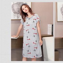 Yaz Kısa Kollu Gecelik Güzel Karikatür Baskılı Ipek Kore Rahat O-Boyun Pijama Vintage Kawaii Gecelik Gecelik cheap short nightdress nereden kısa gece giyimi tedarikçiler