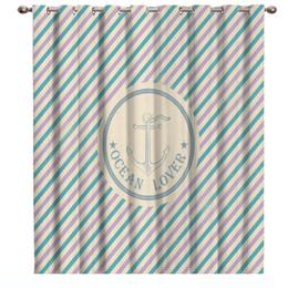 2019 tende blu della tenda Marine Enthusiast stile nautico Anchor Trattamenti di finestra Tende Valance Tenda Rod Blackout stanza da bagno interna Decor Curtains