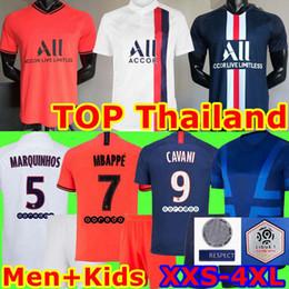 2019 camiseta de fútbol de tailandia al por mayor PSG Jersey ICARD 2019 2020 Mbappé fútbol uniforme niños Jersey de los kits CAVANI Marquinhos Verratti seco Pre-partido de fútbol PSG maillot de pie