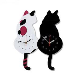 Acrílico moviendo cola gato pared reloj de dibujos animados reloj creativo decoración del hogar desde fabricantes