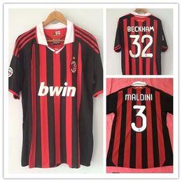 AC Milan BECKHAM MALDINI 2009 2010 Домой на заказ ретро футбол Джерси футболка RONALDINHO от