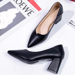 Xiniu Толстые туфли на высоких каблуках Женщины Туфли с острым носом Рабочая обувь Скольжения на высоких каблуках Обувь Большой размер Коричневый бежевый черный # 0708 cheap beige pointed heels от Поставщики бежевые каблуки