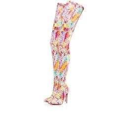 stivali di coscia delle donne in lattice Sconti Nuovo stile di stampa di alta qualità Nizza sopra il ginocchio Stivali Femininas scarpe a punta Tacchi alti Stivali Femininas partito nozze Stivali taglia 35-43