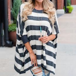 blusas y blusas para mujer befree Moda vintage Tallas grandes Blusa de manga larga con estampado a rayas de mujer Top con manga dolman desde fabricantes