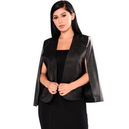 Yeni Varış 2018 Siyah Moda Kadınlar Seksi PU Deri Blazers Açık Ön Stil Batwing Kollu Gece Kulübü İnce Ceket Üst Suit cheap women s leather suit jacket nereden kadın deri ceket ceket tedarikçiler