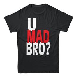Argentina U Mad Bro Bruh texto blanco rojo diciendo Dank Meme Humor College Funny camiseta de los hombres de alta calidad de algodón Hip Hop de manga corta Suministro