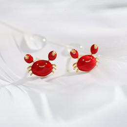 2019 orecchino singolo Nuovi orecchini giapponesi e coreani del granchio del fumetto Orecchini animali creativi Femmina rossa individuale sconti orecchino singolo