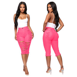 high rise jeans Promo Codes - summer rose red calf length pants Sexy Jeans Women Ripped Denim High Waist Streetwear Casual Pant Elastic Stretch Short Jeans