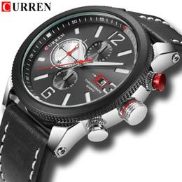 2019 curren chronograph 2018 CURREN Männer Quarz Uhren Casual Sport Chronograph Wriswatch Lederband Wasserdicht Relogio günstig curren chronograph