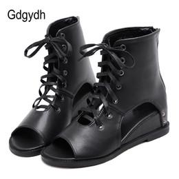 botas abertas para os tornozelos Desconto Gdgydh Toe Ankle Boots Para As Mulheres Abertas Sapatos de Salto Feminino Roma Lace Primavera Verão Sapatos de Couro Macio Do Estudante Na Escola 2019