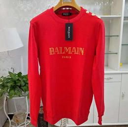 Klasik stili siyah kırmızı elle yaz sonbahar moda kadın mektup kollu Kazak kadın o-boyun düz renk lüks PulloverXXXL-Balmain nereden