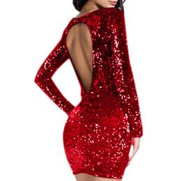 vestido vermelho com lantejoulas Desconto Vestido de lantejoulas Sexy Backless Mulheres Manga Longa Flapper Apertado Nádegas Robe Clube Desgaste Do Partido Vestido de Mulher Roupas Vermelhas Champagne Preto J190430