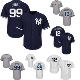 Трофейный трикотаж онлайн-Нью-Йорк 99 Aaron Judgees Yankees Мужские бейсбольные майки 12 Troy Navy Blue Cool Base мужская бейсбольная майка