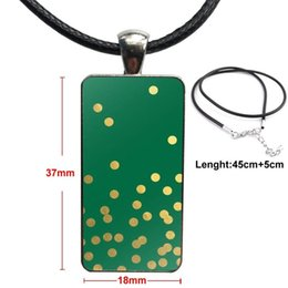 2020 polka dot necklace Or Points de polka Imprimé Acier inoxydable Cabochon en verre avec un rectangle en pendentif en forme Collier ras du cou pour femmes Party polka dot necklace pas cher