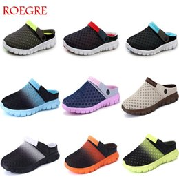 hole mesh shoe Coupons - Summer Men sandals colorful couples beach Shoes breathable comfort mesh thick bottom slippers Man Baotou hole shoes large 35-46