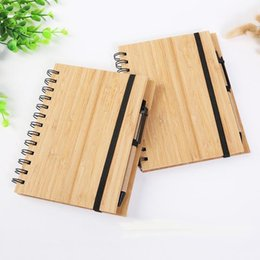 Stylos de recyclage en Ligne-Free shipping Wood Bamboo Cover Notebook Spiral Notepad With Pen 70 sheets recycled lined paper LLFA